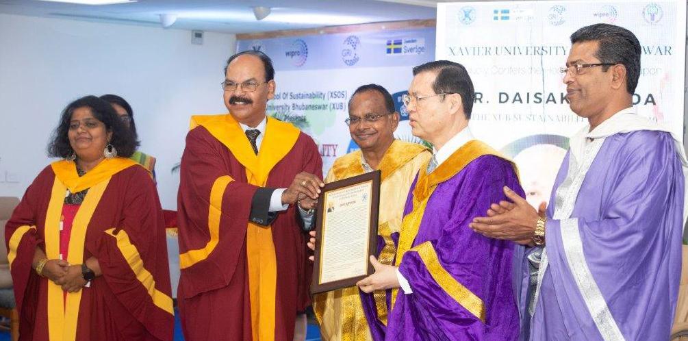 Xavier university bhubaneswar confers honorary doctorate in sustainability management upon president Ikeda