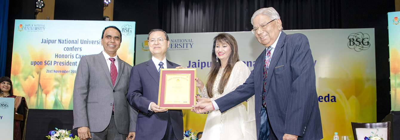 Jaipur National University Confers Honorary Doctorate in Philosophy upon President Ikeda