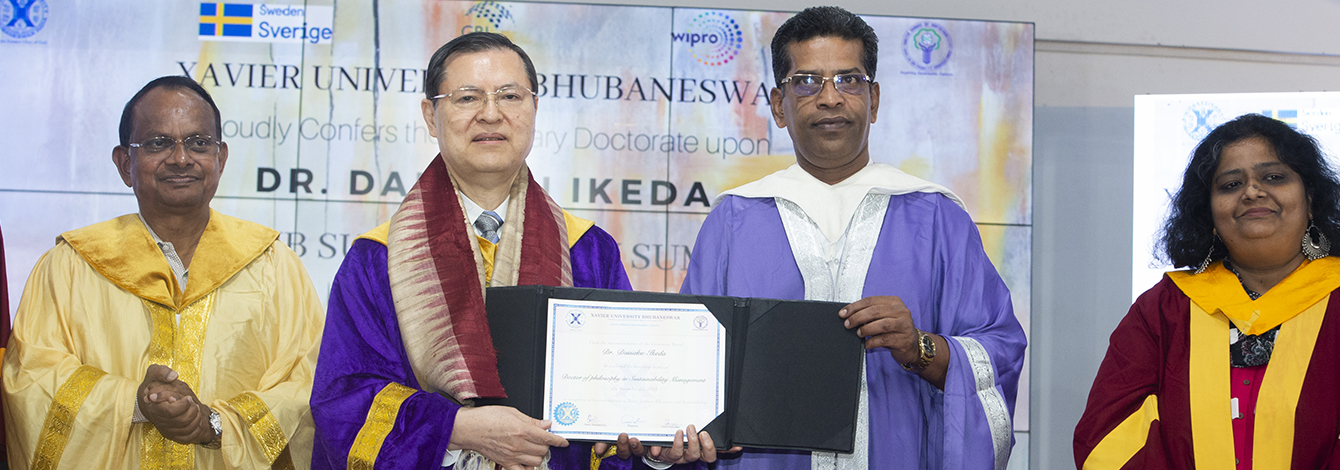 Xavier University Bhubaneswar Confers Honorary Doctorate in Sustainability Management upon President Ikeda